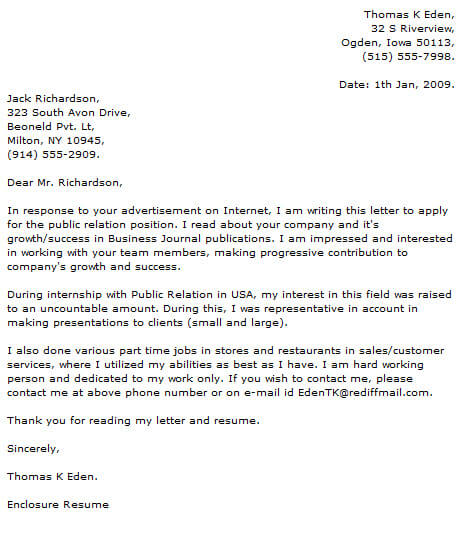 Public Relations Cover Letter Examples Now