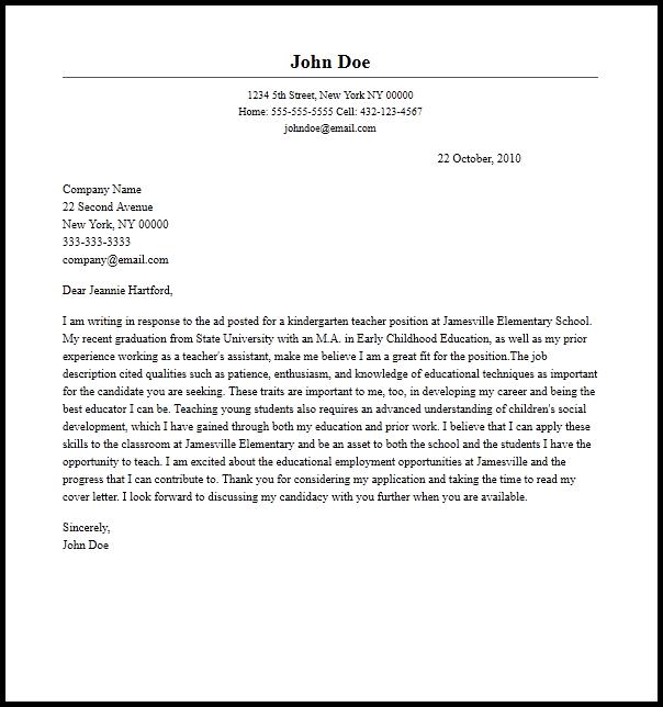 sample cover letter for preschool teacher assistant
