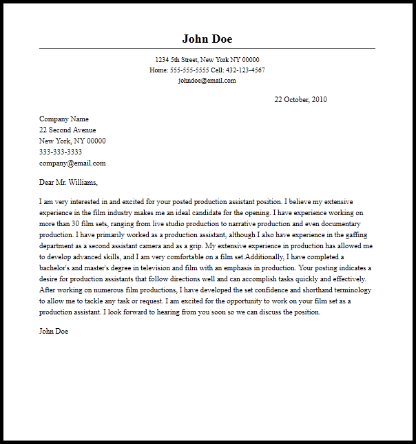 production assistant cover letter sample