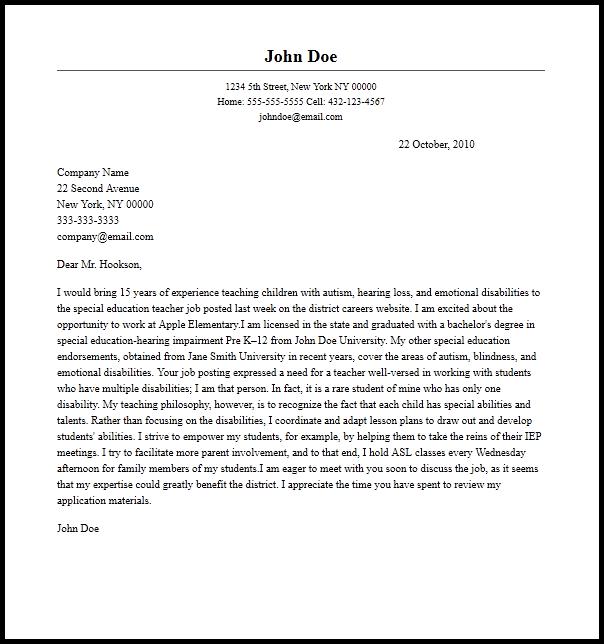 special education teacher resume cover letter sample