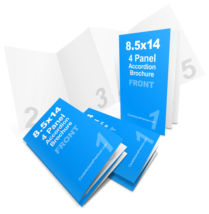 Accordion Fold Brochure Mockup- 85 x 14 Cover Actions Premium