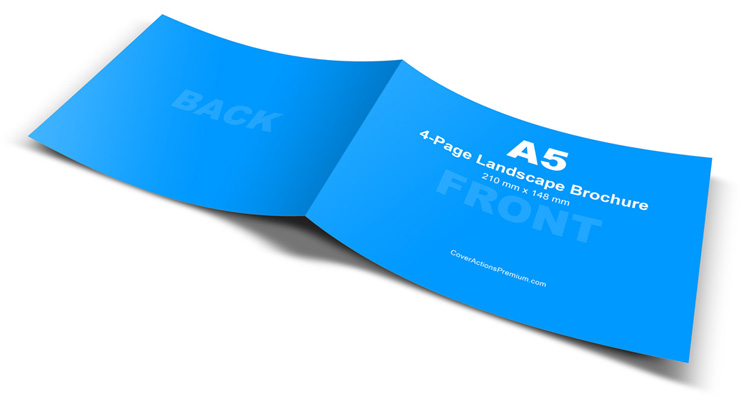 A5 4-Page Landscape Brochure Mockup Cover Actions Premium Mockup