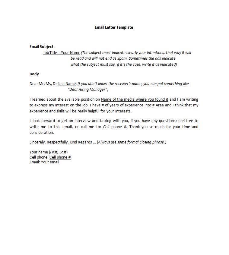email-template-resume-cover-letter-template