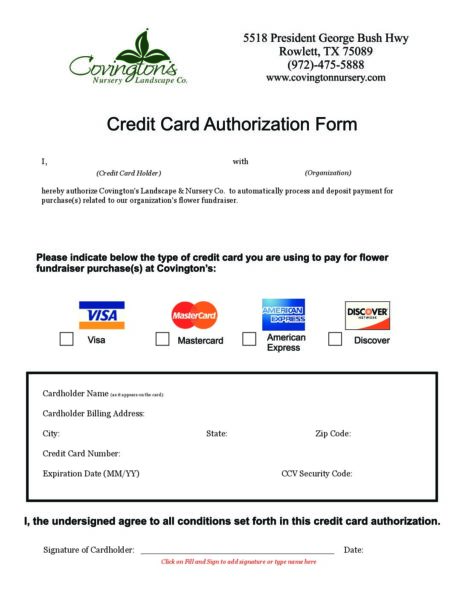Fundraiser Credit Card Authorization Form - Covingtons
