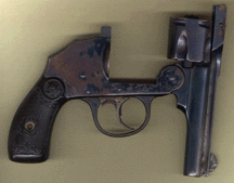 Iver Johnson .32 shown in the top break open, ready for loading.