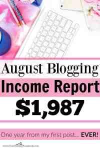 August Blogging Income Report $1,987