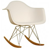 Rocking White Plastic Resin Accent Chair