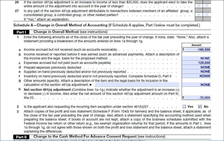 Automatic Change to Cash Method of Accounting for Tax - Schedule A Form