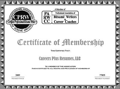 Resume Writer Credentials  Company Profile Careers Plus Resumes, LLC