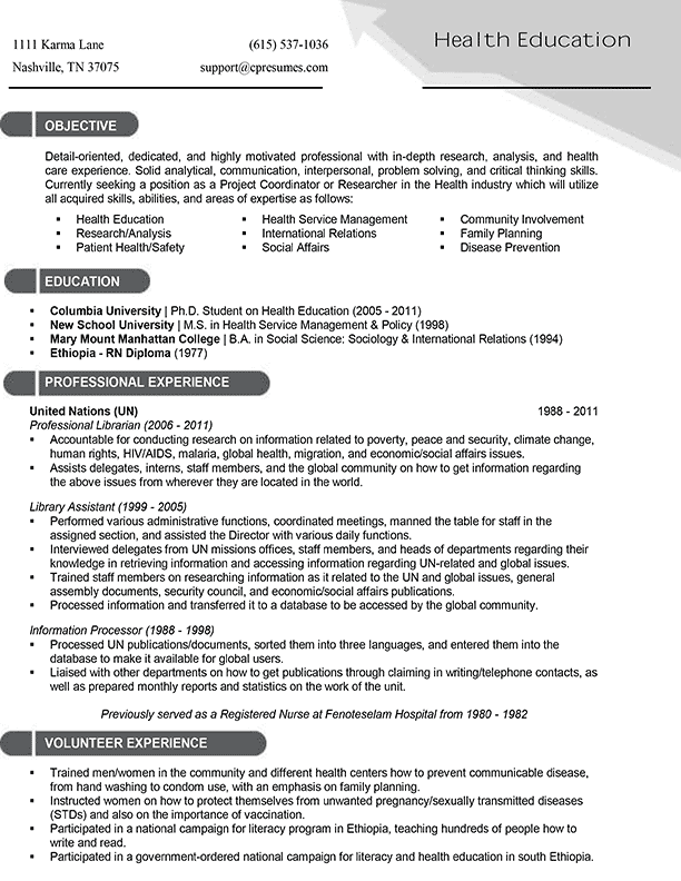 target resume templates for healthcare