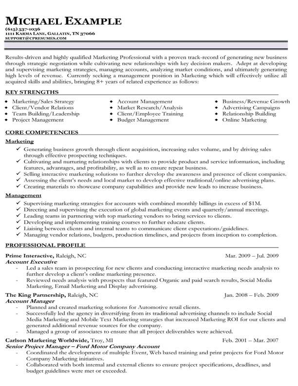 Resume Samples Types of Resume Formats, Examples  Templates - sample resume sales and marketing