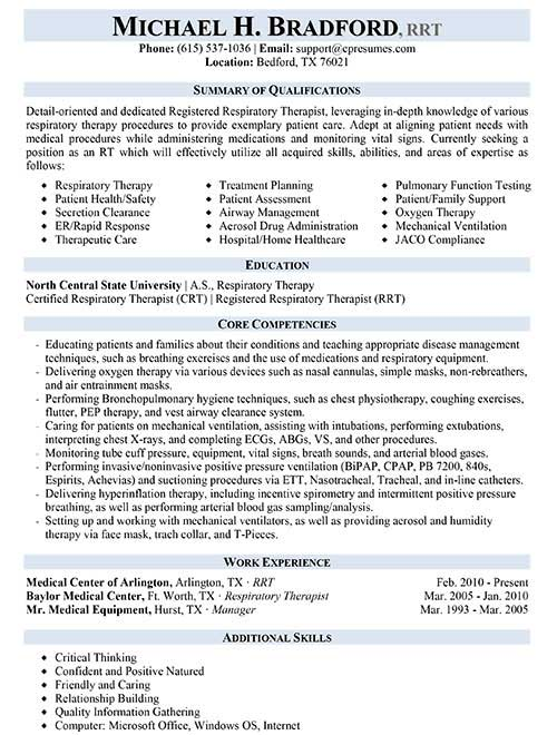 examples of resumes massage therapist respiratory therapist resume sample