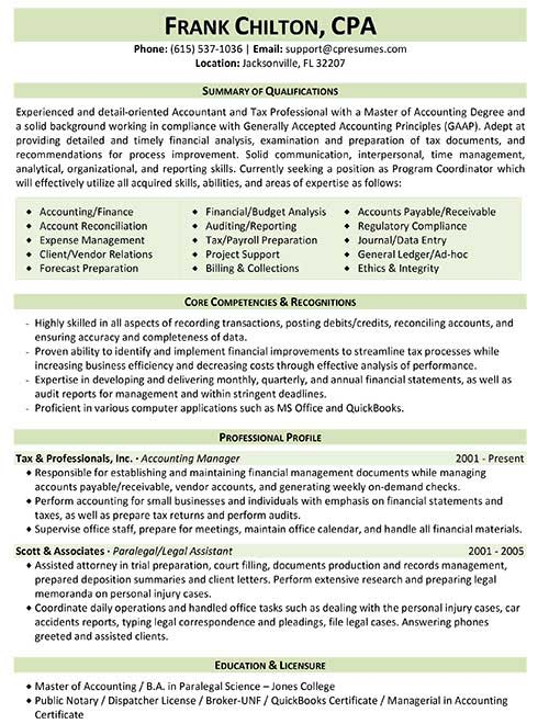 resume samples for tax professionals