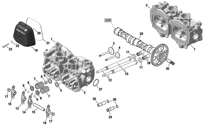 ROTAX 912 914 UL ENGINE CYLINDER HEAD / VALVE COVER / INTAKE
