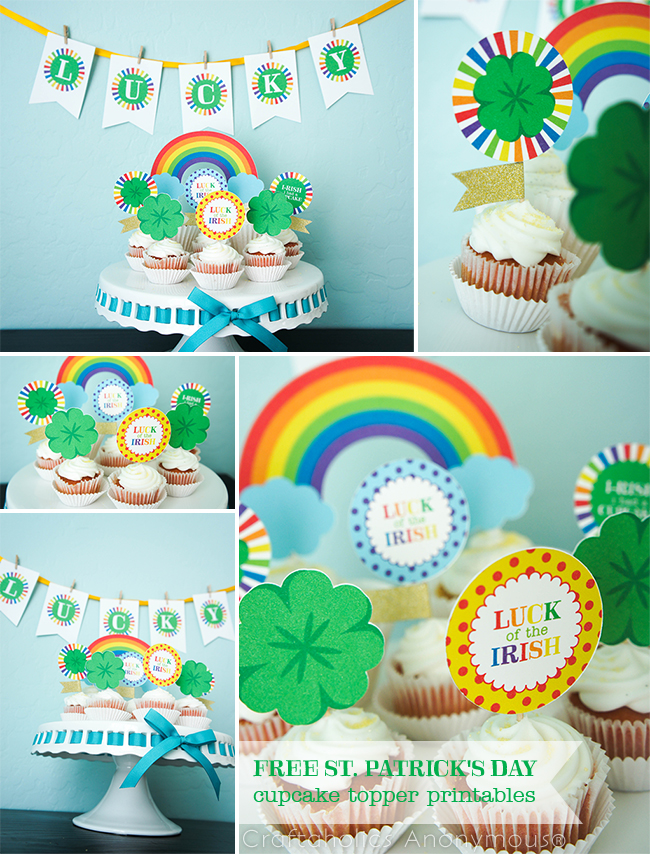 Craftaholics Anonymous® St Patrick\u0027s Day Rainbow Cupcake Toppers