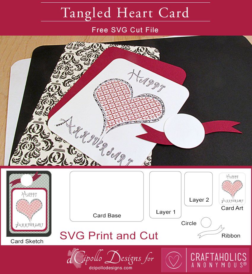 Craftaholics Anonymous® Tangled Heart Card Free SVG Cut File