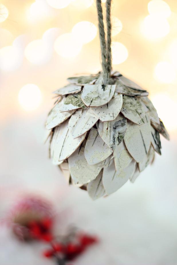 Cozy Fall Wallpaper Birch Bark Pine Cone Ornament
