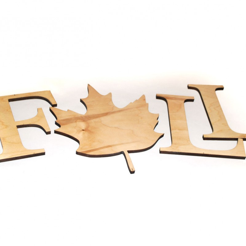 Fall Wood Wall Letters - Wood Lettering with Leaf Shape Craftcuts
