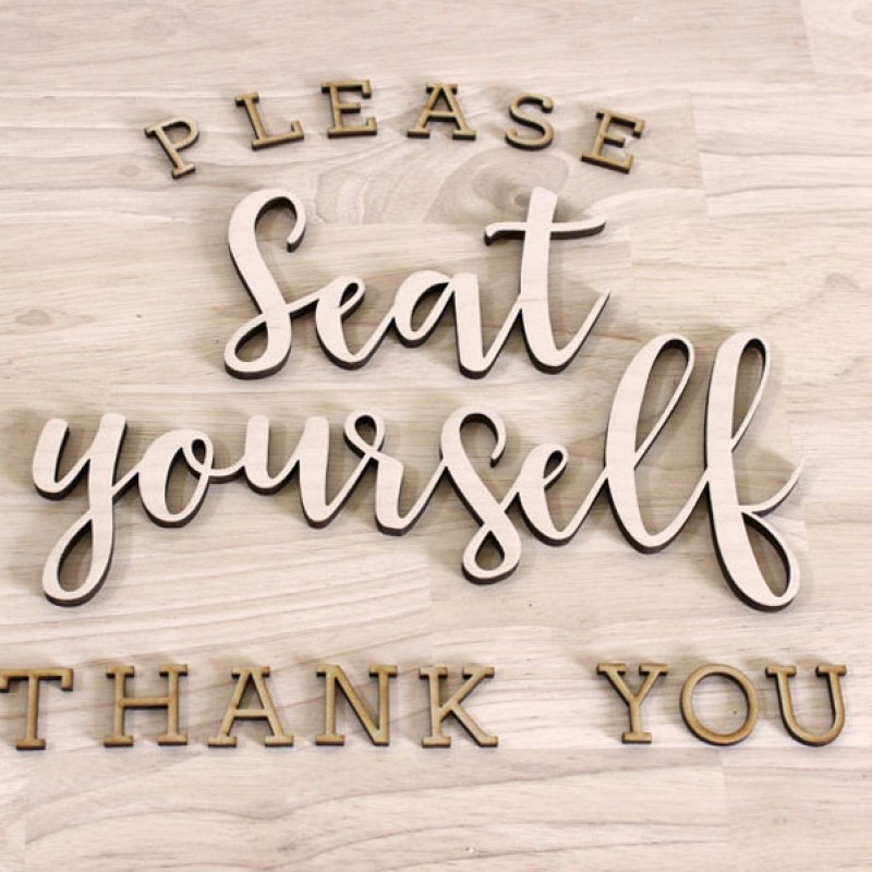 Seat Yourself Bathroom Sign Kit - Script Wood Letters Craftcuts