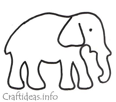 Craft Template and Coloring Book Page for an Elephant - elephant cut out template