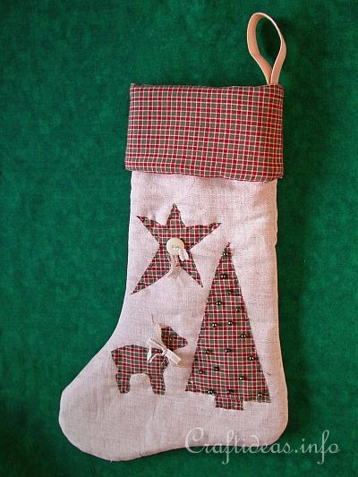 Christmas Sewing Craft  Country Christmas Stocking Sewing Pattern Lined Christmas Stocking