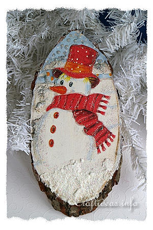 Christmas Craft Snowman Tree Slice Winter Decoration