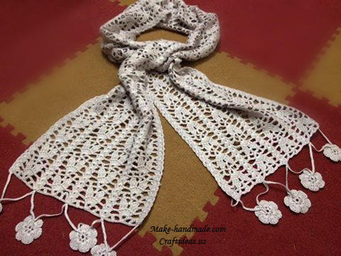 Crochet Lace Leaves Scarf Chart Craft Ideas