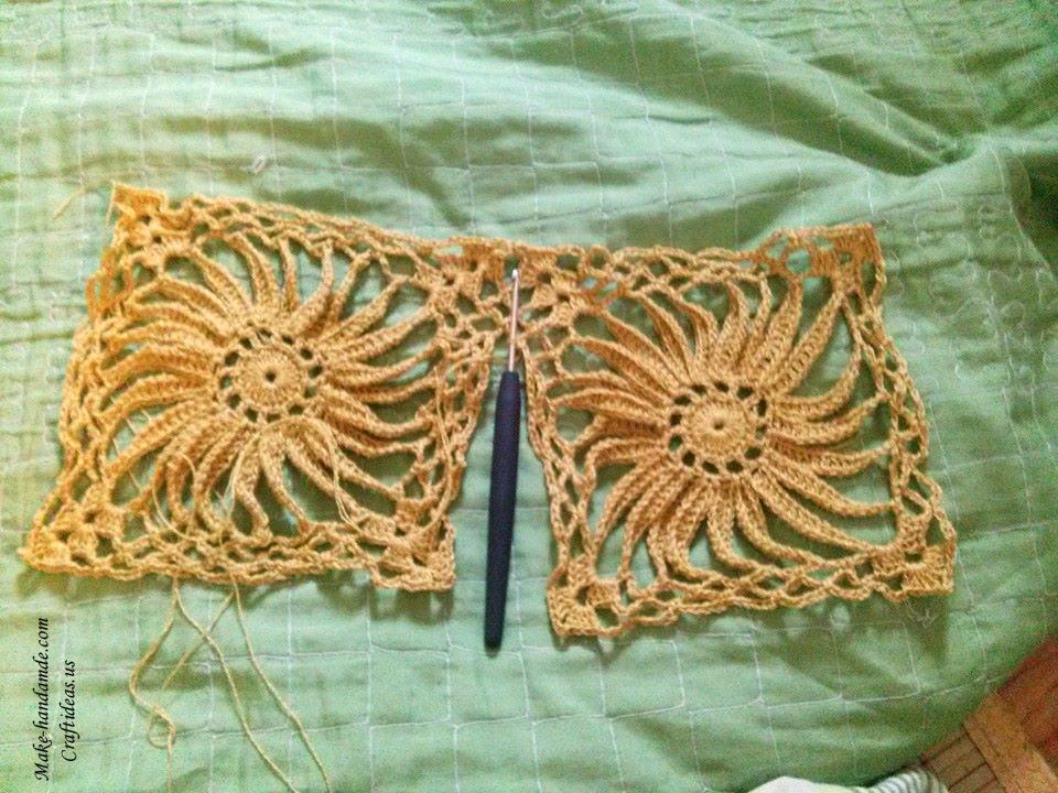 Crochet Lace Sunflower Pullover For Beach Craft Ideas