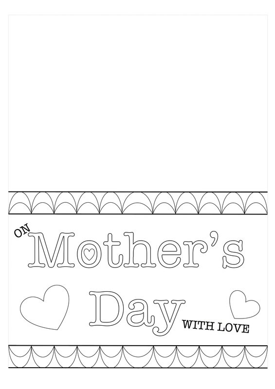 Printable template for Mother\u0027s Day Card kids craft