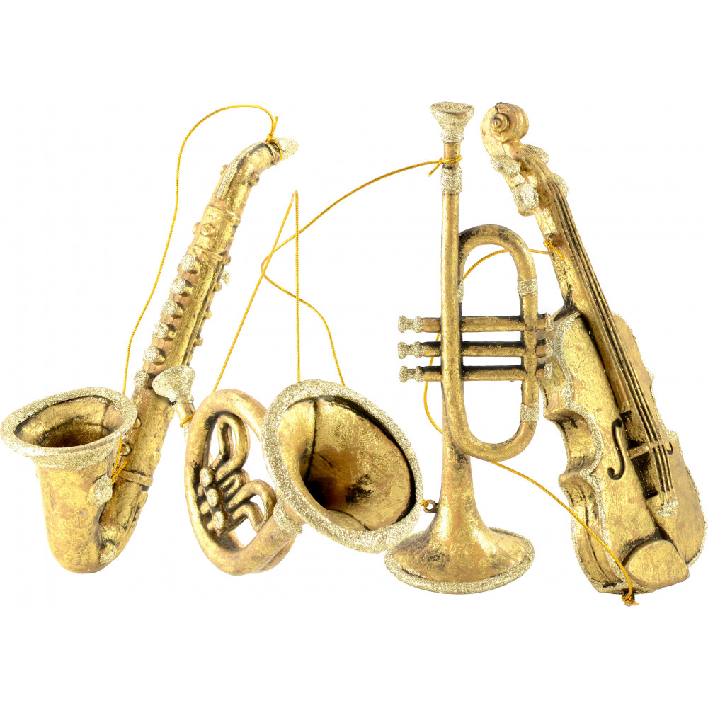 8 11 assorted musical instrument ornaments gold set of 4