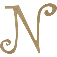 "14"" Decorative Wooden Curly Letter: N [AB2158"