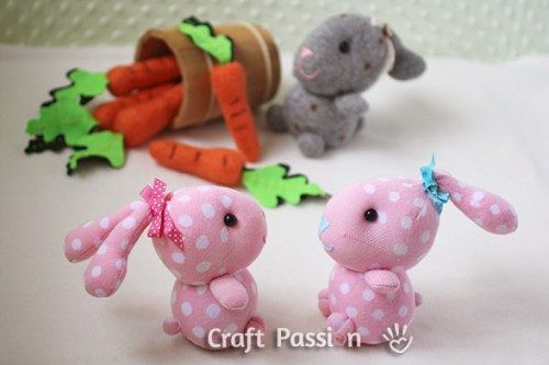 Stuffed Sock Bunny Rabbit Toys DIY Craft Project
