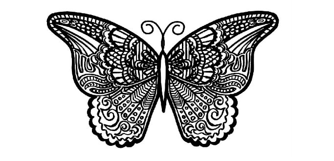 Free butterfly colouring page crafts on sea