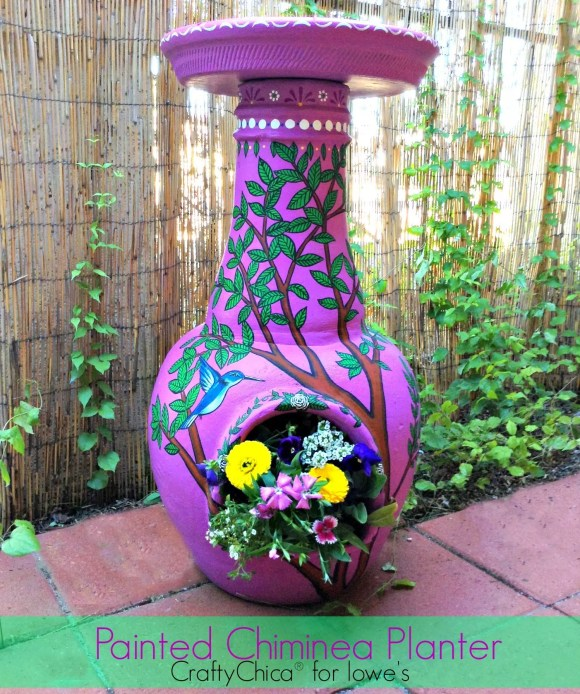 Painted Chiminea Planter by CraftyChica.com.