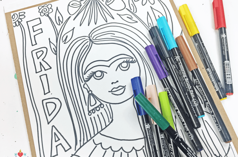 Free Frida Kahlo Coloring Pages! (She would have been 110 today ...