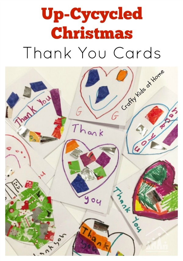Up-Cycled Christmas Thank You Cards - Crafty Kids at Home