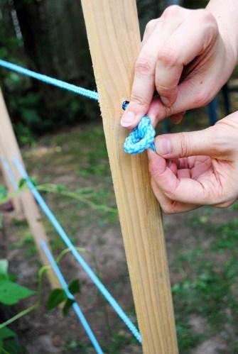 diy garden trellis tutorial tying knot