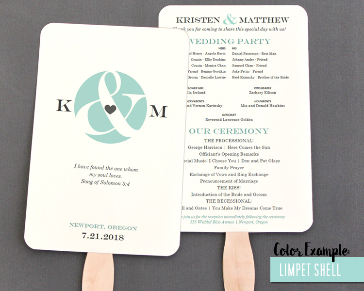 Ampersand and Heart Wedding Program Fan -Cool Colors - wedding program