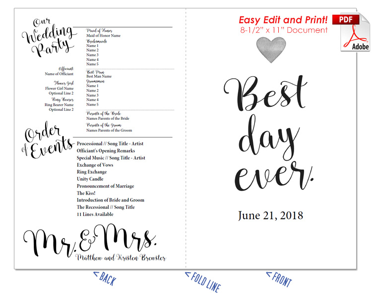 Contemporary Fan Program Template Ideas - Professional Resume - wedding program inclusions