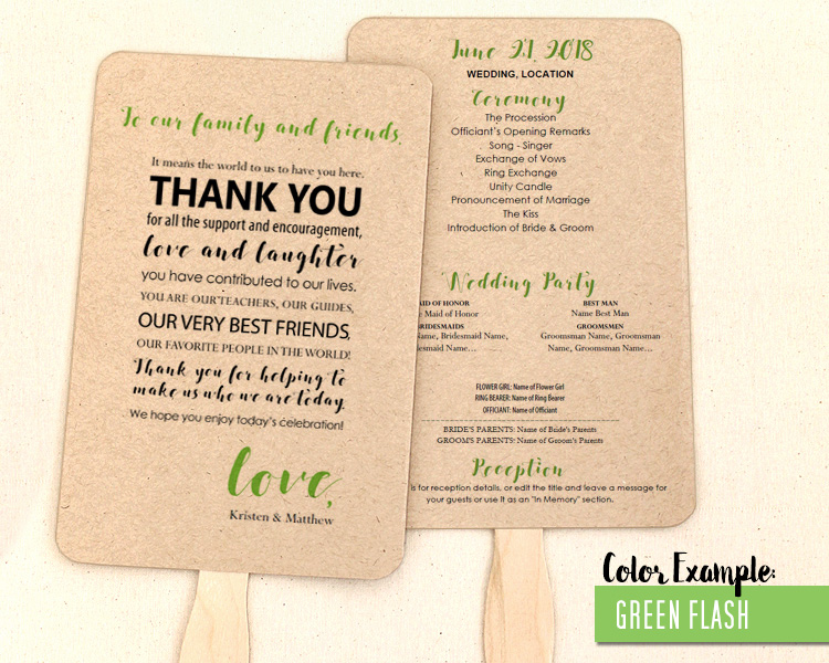 Thank You Message Wedding Program Fan -Cool Colors - wedding program