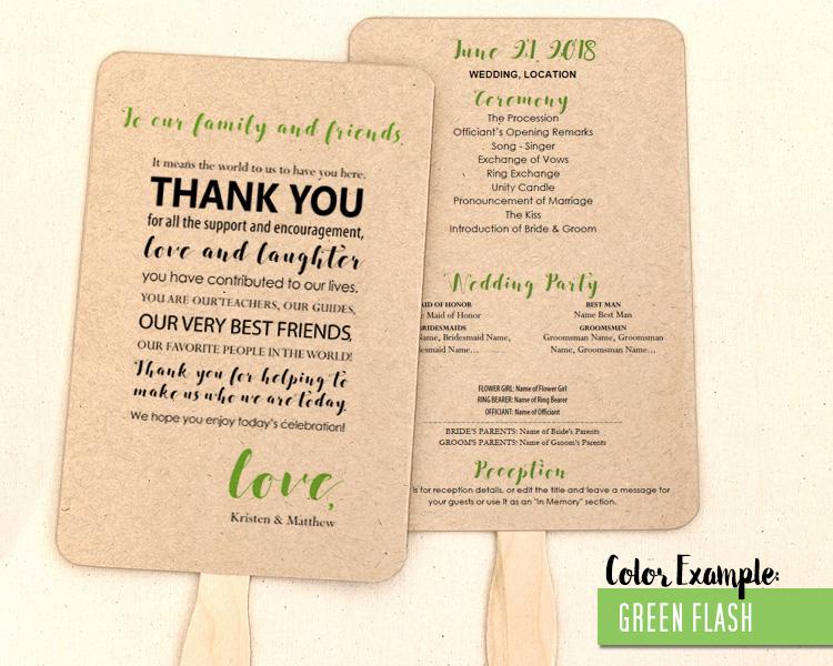 wedding program thank you messages