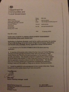 Letter to Waverley from DCLG outling Secretary of State holding position
