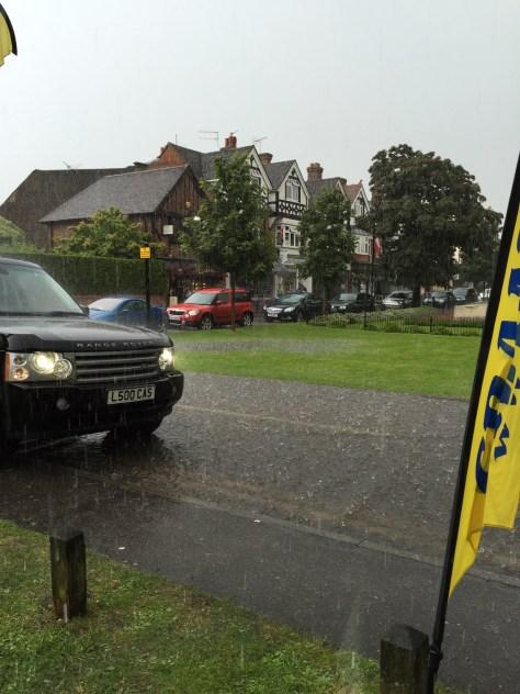 Cranleigh War Memorial starts to flood 25-06-16
