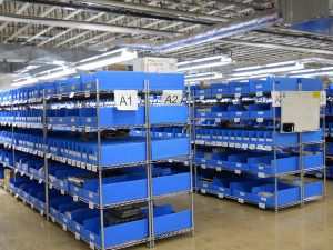 Industrial shelving system with Bins