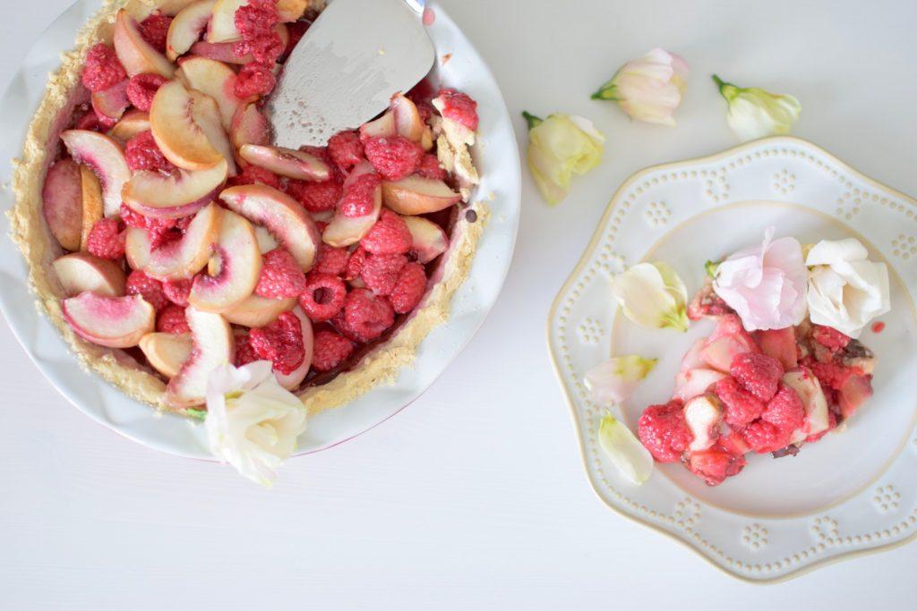 Raspberry Rose Peach Pie with Painted Chocolate Cardamom Shortbread ...