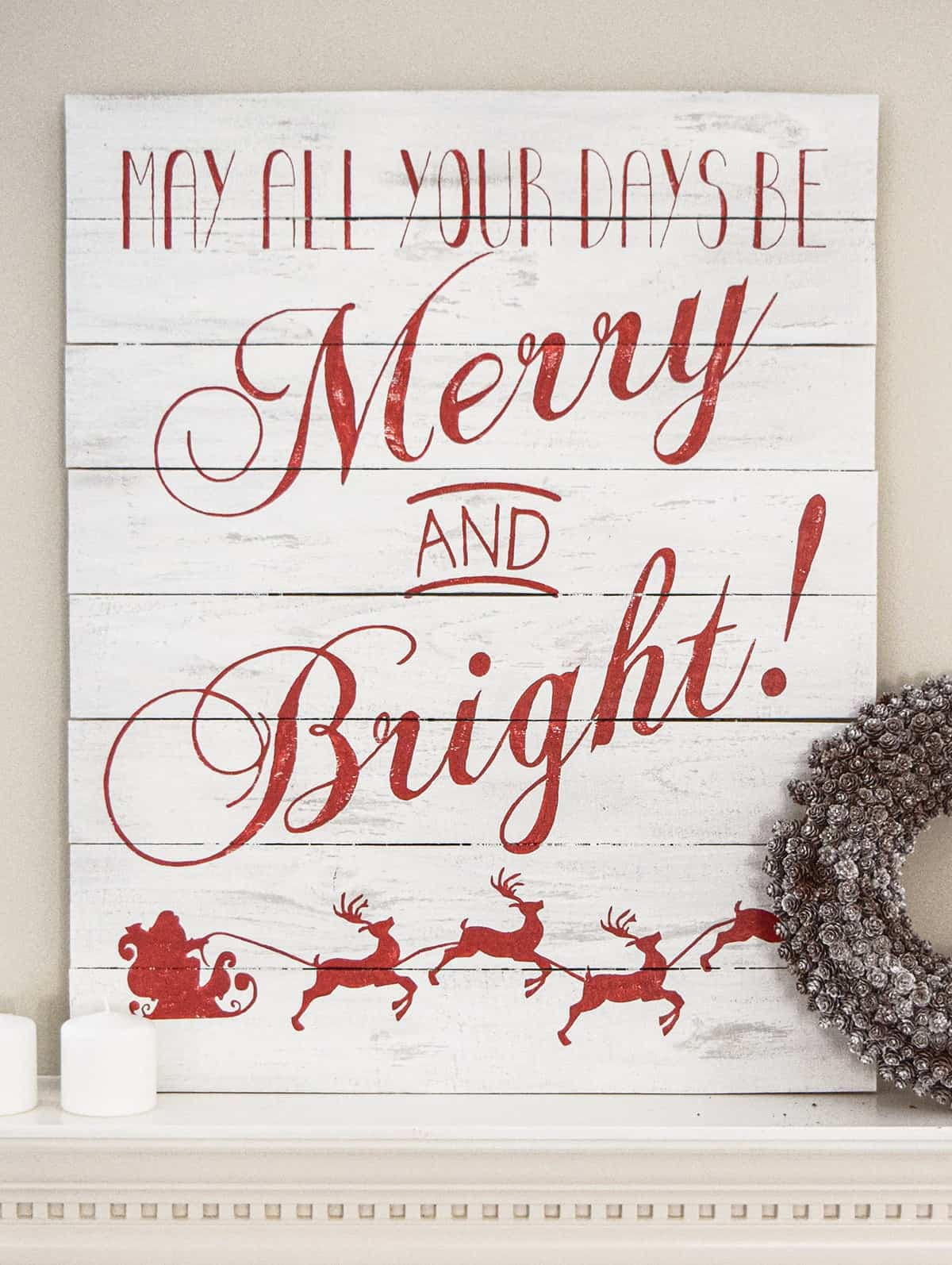 Merry and Bright Christmas Sign - - christmas card templates for word