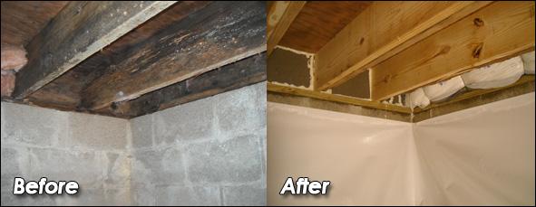 Crawlspace Floor Joist Repair