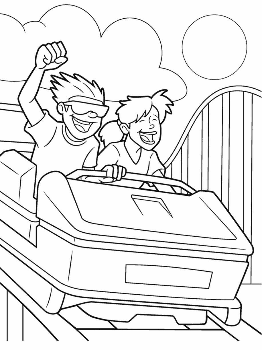 coloring page roller coaster
