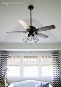 DIY cage light ceiling fan - Crazy Wonderful