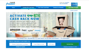 10% Cash Back for Chase Freedom